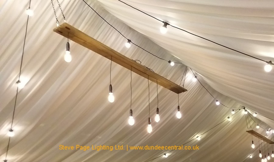 hanging edison lightbulb display hire