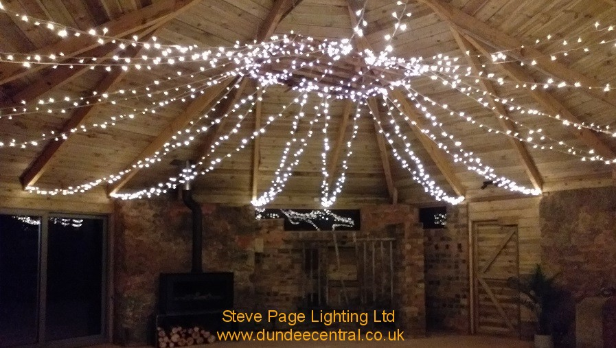 cow shed lighting for weddings